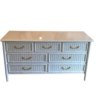 1970s Mid-Century Modern Henry Link Faux Bamboo and Wicker 7-Drawer Dresser For Sale