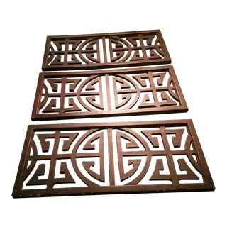 Chinese Wooden Wall Plaques - Set of 3