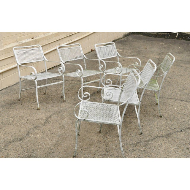 Late 20th Century Late 20th Century Vintage Cast Aluminum Scroll Arm Metal Patio Dining Table & Chairs - Set of 7 For Sale - Image 5 of 13