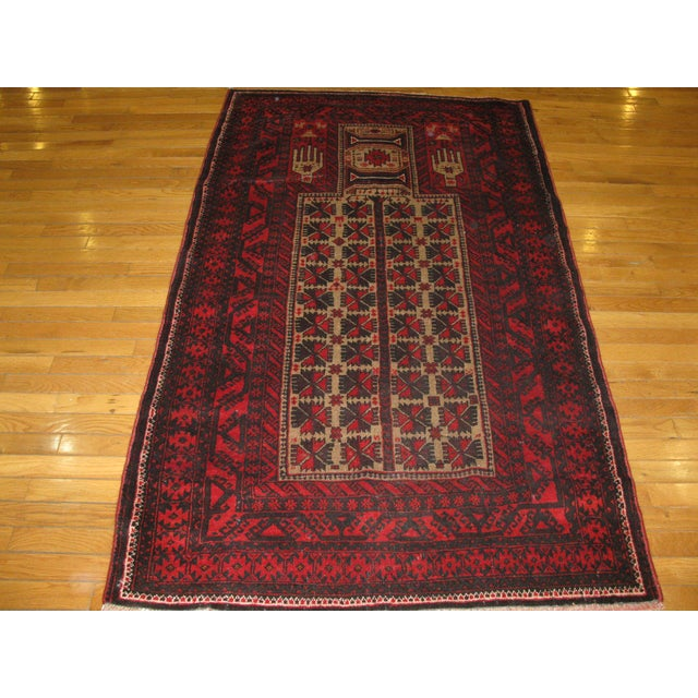 Small Vintage Handmade Afgani Rug - 3'7'' X 6'4'' - Image 2 of 4