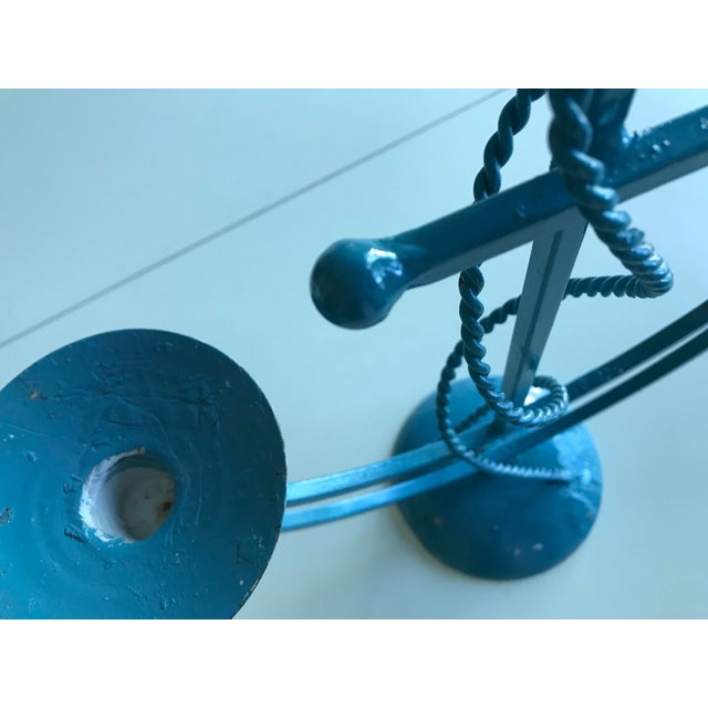 Vintage Nautical Blue Wrought Iron Anchor Candelabra For Sale - Image 4 of 7