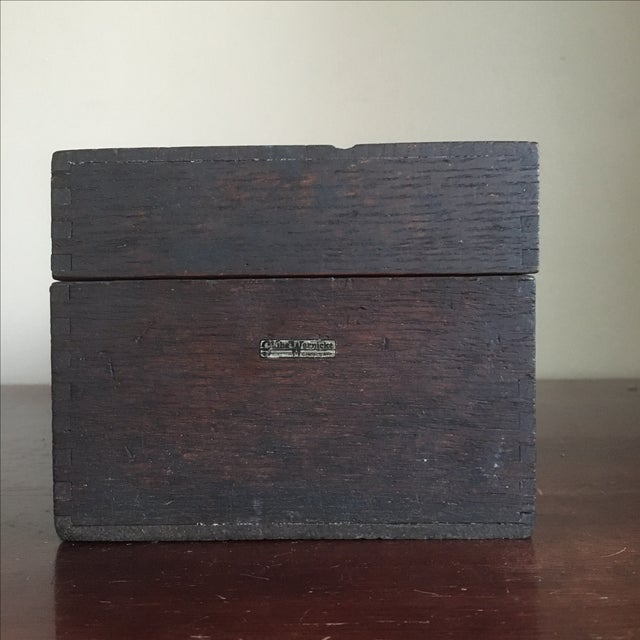 Globe Wernicke Vintage Globe Wernicke Wooden Index Card File Box For Sale - Image 4 of 11