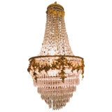 Image of Fine French Louis XVI Style Gilt Bronze 3-Light Swag Form Crystal Chandelier For Sale