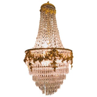 Fine French Louis XVI Style Gilt Bronze 3-Light Swag Form Crystal Chandelier For Sale