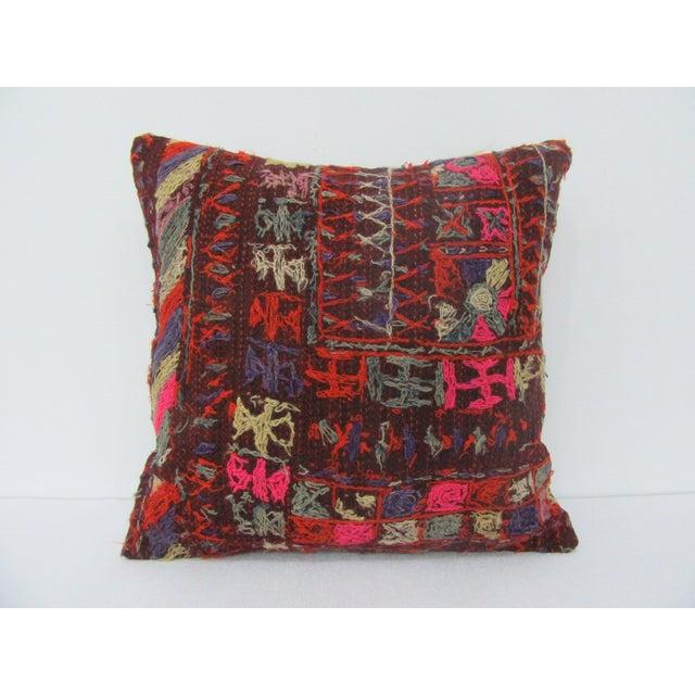 Turkish Handmade Vintage Embroidered Kilim Pillow For Sale - Image 4 of 4