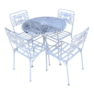 Vintage White Flowered Chairs Bistro Dining Set For Sale
