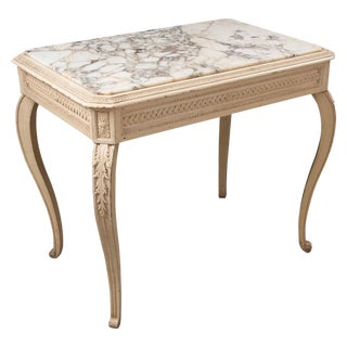 French 19th Century Louis XV Painted Marble Top Table
