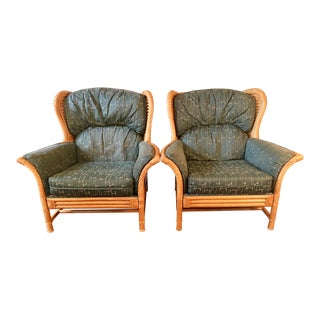 Pair Lane Rattan Wing Back Lounge Chairs For Sale