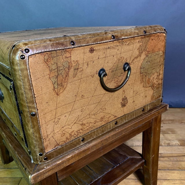 Leather Travel Suitcase Storage Box on Frame, 20th Century For Sale In New York - Image 6 of 12