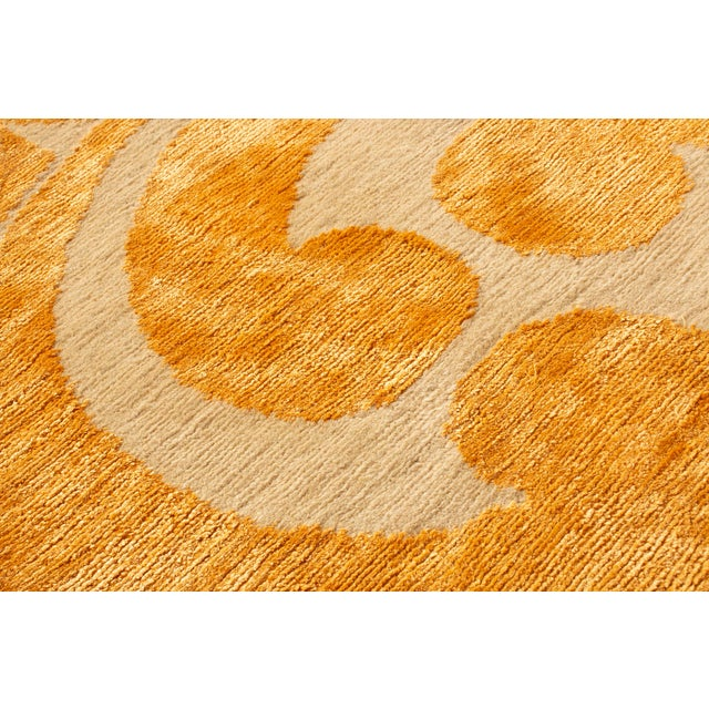 "Contemporary Hand Knotted Golden ""Kaleidoscope"" Rug For Sale - Image 9 of 11"