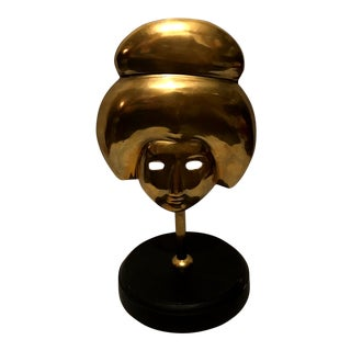 Vintage Japanese Geisha Brass Face Mask Sculpture For Sale