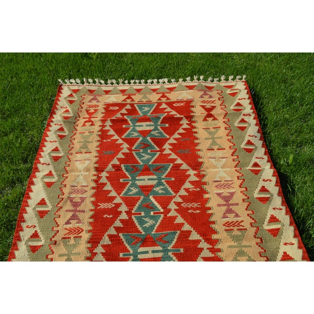 Handmade Kilim Geometric Design Cappadocia Red Color Kilim Rug - 3′11″ × 5′10″ For Sale - Image 4 of 8