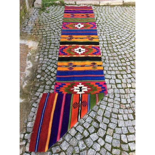 Vintage Turkish Anatolian Kilim Rug - 2' X 10' - Image 5 of 6