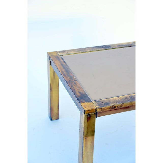 1960s French Patinated Brass and Bronze Mirrored Side Table For Sale - Image 4 of 6