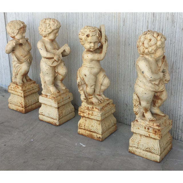 Metal 19th Cast Iron Fiske Cherubs Boy Garden Statues With Stands For Sale - Image 7 of 11