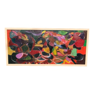 1980s Abstract Acrylic Painting on Board For Sale