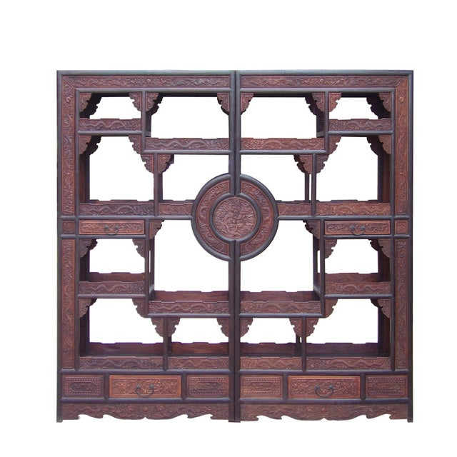 Wood Chinese Rosewood Display Curio Cabinets - A Pair For Sale - Image 7 of 10