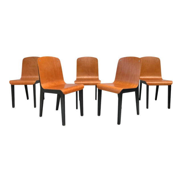 Vintage Rounded Bent Plywood Chairs - Set of 5 For Sale