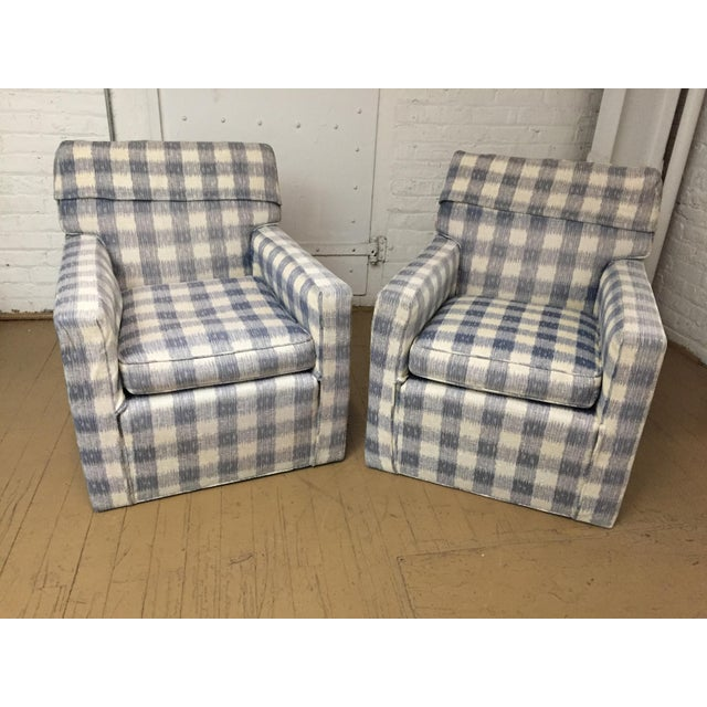 Mid-Century Brunschwig & Fils Upholstered Down Filled Arm Chairs For Sale - Image 11 of 11
