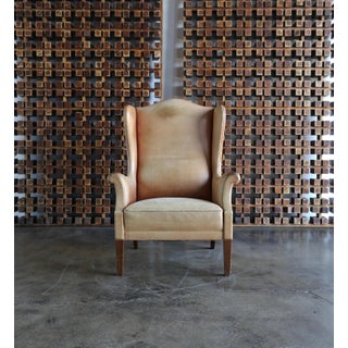 1950s Vintage Danish Leather Wingback Chair Preview