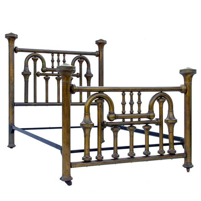 Amazing circa 1870s full size brass tuba bed. Antique full sized beds are slightly smaller than the modern full sizes so...