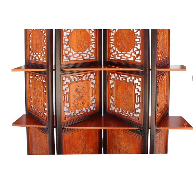 2010s Chinese Scenery Carving 2 Brown Tone Wood Panel Floor Screen Display Shelf For Sale - Image 5 of 10