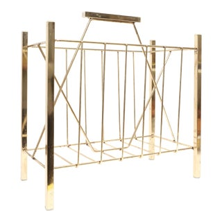 Vintage Brass Magazine Rack Holder