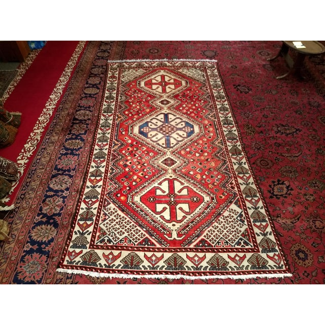 1960s Vintage Persian Shiraz Tribal Carpet - 5′ × 9′8″ For Sale - Image 10 of 10