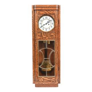 Tiger Oak Case Beveled Glass Trimmed Brass Wall Clock For Sale