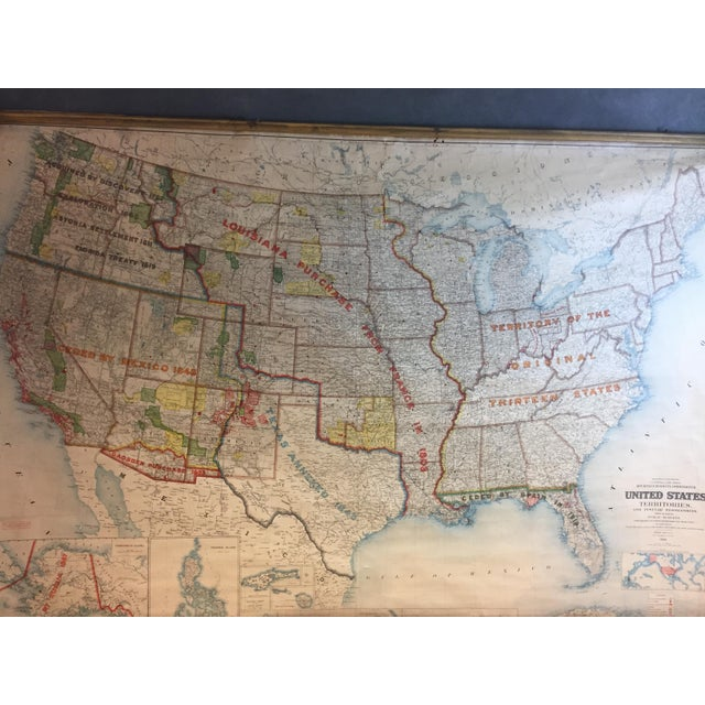 1900 Antique Department of the Interior USA & Territories Wall Map For Sale - Image 6 of 11