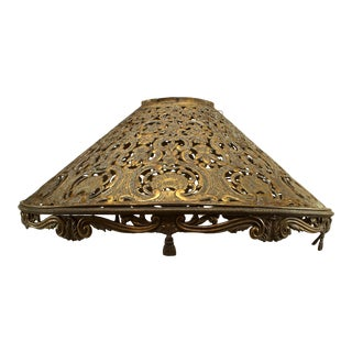 American Victorian Brass Filigree Lamp Shade For Sale