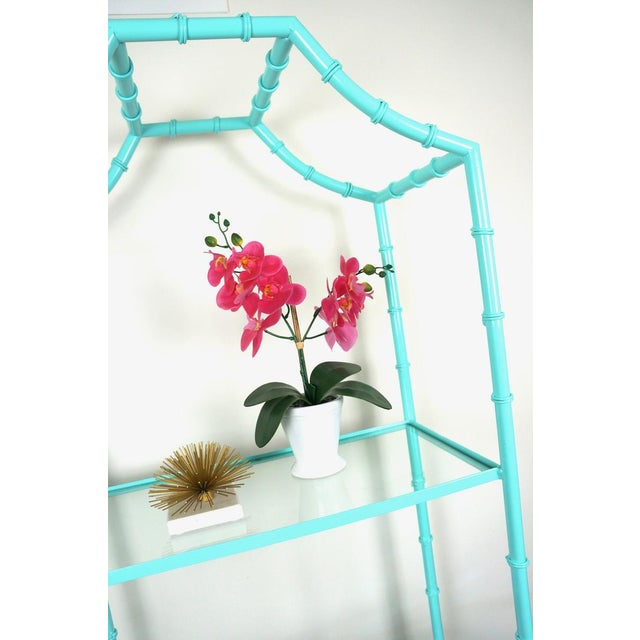 Faux Bamboo Turquoise Etagere Shelf For Sale In Las Vegas - Image 6 of 7