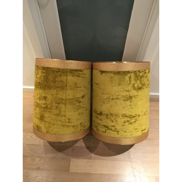 Crushed Yellow Velvet Lampshades - A Pair - Image 2 of 5
