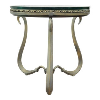Heavy Iron & Glass Contemporary Modern Round Scrolling Occasional Accent Table