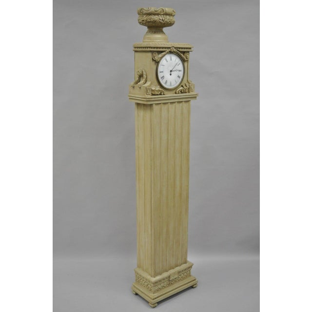 """72"""" French Regency / Empire Style Cream Painted Standing Clock with interior storage Details: Cream painted finish, swing..."""