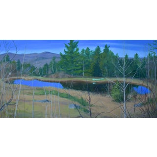 "Large ""Canoe, Pond, and Mountains in Vermont"" Painting by Stephen Remick"