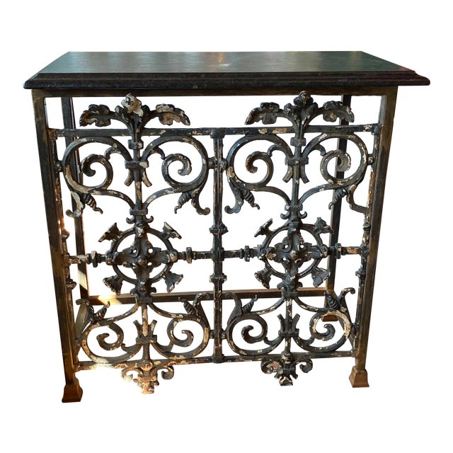 19th Century French Iron Console With Marble Top For Sale