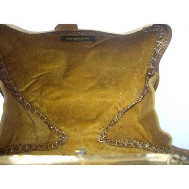 Metal Saks Fifth Avenue Gilt Metal Panther Evening Bag Made in Italy For Sale - Image 7 of 8