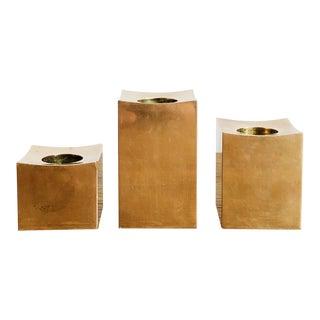 Metallslojden Gusum 1983 Signed Candlestick Holders Set of 3 Solid Brass Sweden For Sale