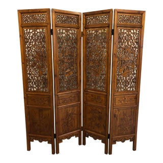 Antique Chinese Wooden 4-Panel Folding Screen For Sale