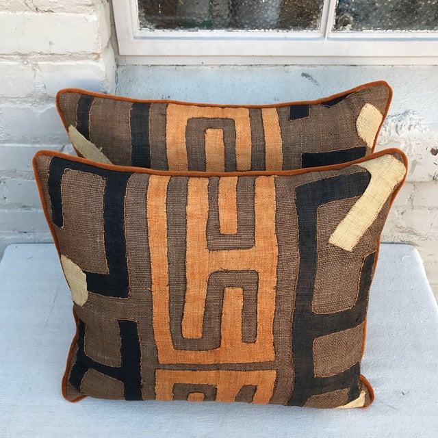 African Kuba Cloth Pillows - A Pair - Image 4 of 5