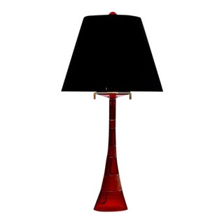 Superb John Hutton Red Art Glass Modernist Table Lamp - Donghia For Sale