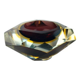 Murano Sommerso Faceted Art Glass Dish