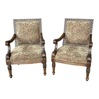 Carved Italian Lounge Chairs a Pair For Sale