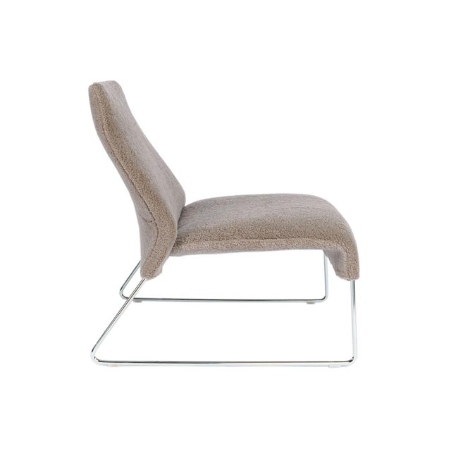 """Patricia Urquiola Gray Wool """"Shearling"""" Covered Easy Chair With Chrome Frame B&b Italia For Sale - Image 4 of 6"""