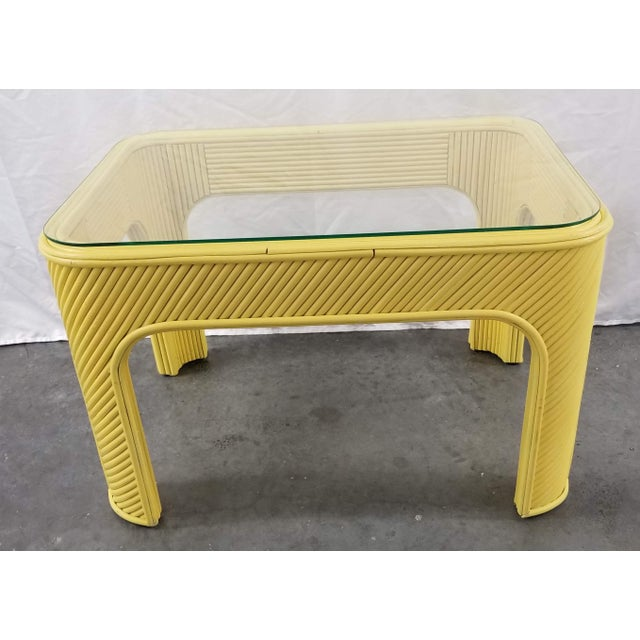 Gabriella Crespi 1970s Yellow Pencil Reed Bamboo & Glass Coffee or Occasional Table For Sale - Image 4 of 6