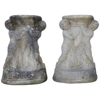 Pair of Cast Concrete Cherub Pedestals For Sale