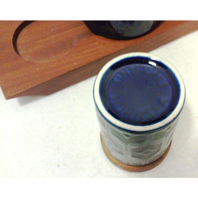 Mid-Century English Cobalt Blue Ceramic and Teak Condiment Set - 5 Pieces For Sale In Detroit - Image 6 of 6