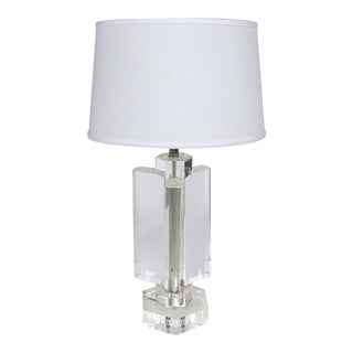 Chunky, Heavy Vintage Karl Springer Style Lucite Table Lamp For Sale