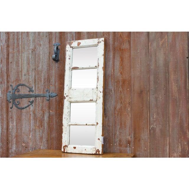 Boho Chic Antique White Paneled Window Mirror For Sale - Image 3 of 7